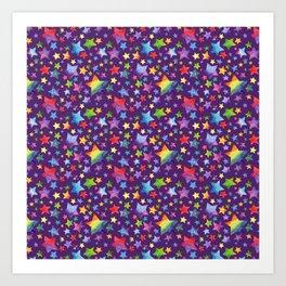 Rainbow Star Pattern on Purple Art Print