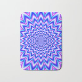 Psychedelic Pulse in Blue and Pink Bath Mat