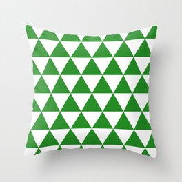 Triangles (Forest Green/White) Throw Pillow