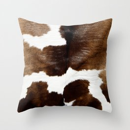 Cow fur, cowhide  leather brown Throw Pillow