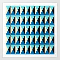 Mid-century pattern (blue triangles) Art Print