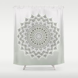 Mandala Flowers Grey Green Shower Curtain