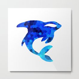 Blue Orca Mosaic Tattoo  Metal Print