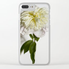 Yellow Peony Flower Clear iPhone Case
