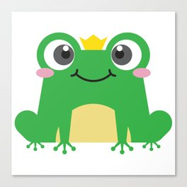 Cute cartoon frog is sitting with crown Canvas Print