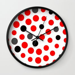 red grey black dots on white background pattern Wall Clock