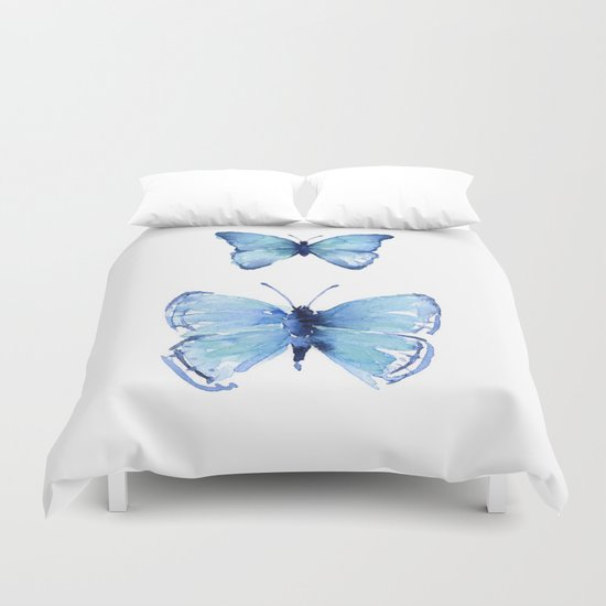 Two Blue Butterflies Watercolor Animals Insects Duvet Cover