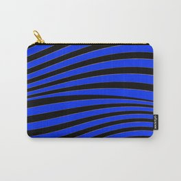 Black and Blue Linear Abstract Print Carry-All Pouch