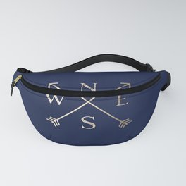 Gold on Navy Blue Compass Fanny Pack
