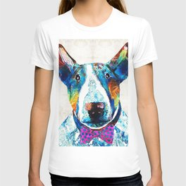 Colorful Bull Terrier Dog Art by Sharon Cummings T-shirt