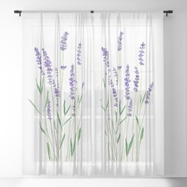 purple lavender watercolor painting Sheer Curtain
