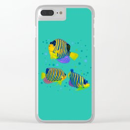 Angelfish swimming amongst bubbles Clear iPhone Case