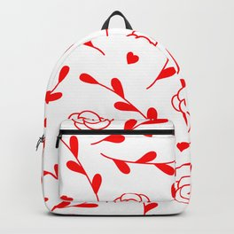 Valentine's Day Vibrant Red Flowers And Leaves Pattern Backpack