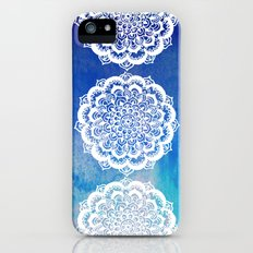 White Floral Medallion on Indigo & Turquoise Watercolor iPhone (5, 5s) Slim Case
