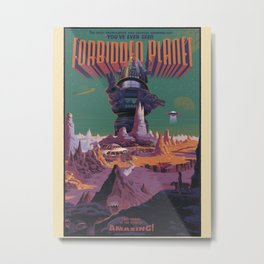 Retro Space poster - Forbidden Planetby Laurent Durieux. Metal Print