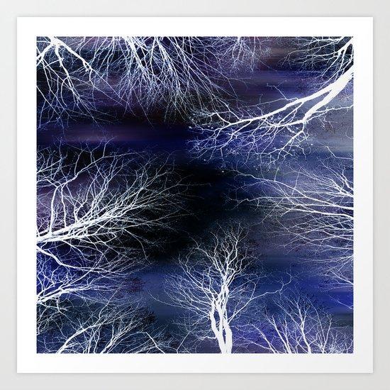 Abstract Midnight Trees Art Print