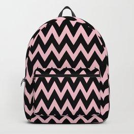 Zig Zag Chevron Black & pink waves pattern Backpack