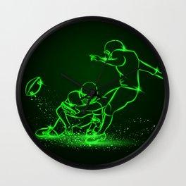 American Football Kicker Hits the Ball. Green Neon Sports Wall Clock