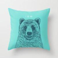 i like you Throw Pillows featuring I Like You (Bear) by Rachel Caldwell