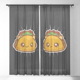 Cute Kawaii Style Taco Gift Sheer Curtain