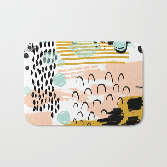 Ames - abstract painting hipster home decor trendy color palette art gifts Bath Mat