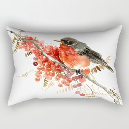 American Robin and Berries Rectangular Pillow