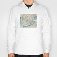 new orleans Hoodies featuring New Orleans City Map by Anne E. McGraw
