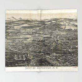 Aerial View of Kingston, New York (1875) Throw Blanket