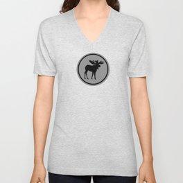 Bull Moose Silhouette - Black on Gray Unisex V-Neck