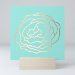 Flower in White Gold Sands on Tropical Sea Blue Mini Art Print