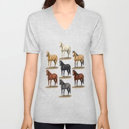 Horse Common Solid Coat Colors Chart Unisex V-Neck