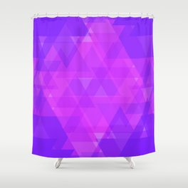 Bright purple and pink triangles in the intersection and overlay. Shower Curtain