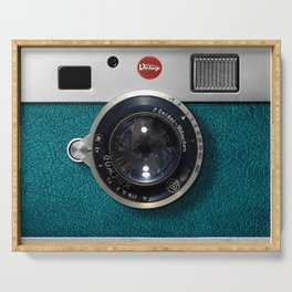 Blue Teal retro vintage camera with germany lens Serving Tray