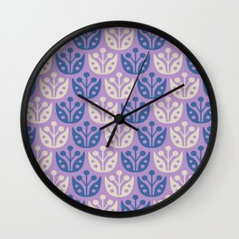 Mid Century Modern Flower Pattern Lavender and Blue 112 Wall Clock