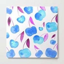 Watercolor cherries - blue and purple Metal Print