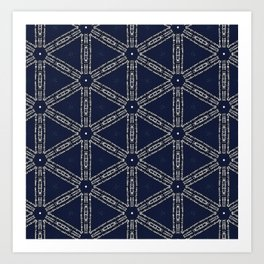 Navy Blue Patterns and Words Art Print