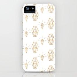White gold faux glitter elegant diamond geometrical iPhone Case