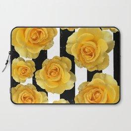 Yellow Roses on Black & White Stripes Laptop Sleeve