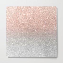 Modern trendy rose gold glitter ombre silver glitter Metal Print
