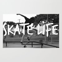 skate Area & Throw Rugs featuring Skate Life by Stephy Coco