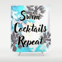 Swim Cocktails Repeat Shower Curtain