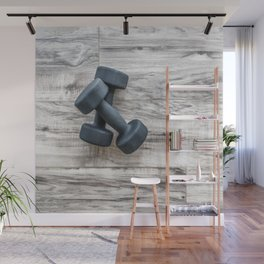 Gym fitness dumbbells weights exercise  background Wall Mural