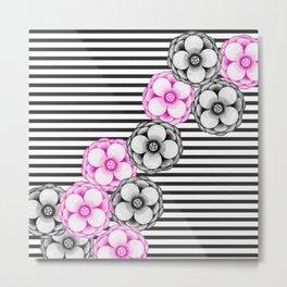 Pink Black Hand Painted Watercolor Flowers Stripes Metal Print
