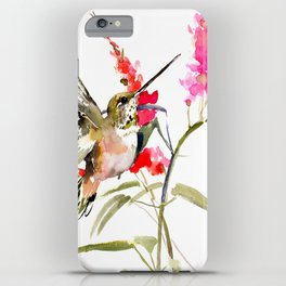 Hummingbird and Pink Flowers, sage green, olive green pink iPhone Case