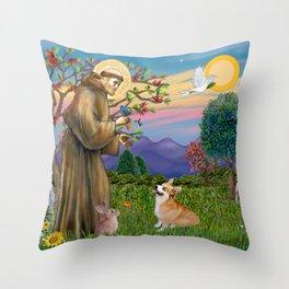 Saint Francis Welsh Corgi (Pembroke) Throw Pillow