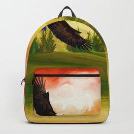 Bald Eagle Sunset Landscape (Color) Backpack