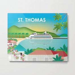 St. Thomas, U.S. Virgin Islands - Skyline Illustration by Loose Petals Metal Print
