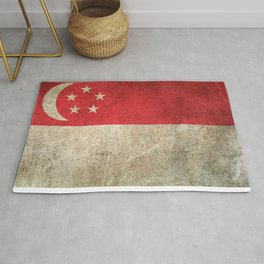 Old and Worn Distressed Vintage Flag of Singapore Rug