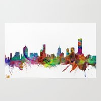 melbourne Area & Throw Rugs featuring Melbourne Skyline by artPause