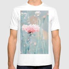 Pink pastel cornflower White MEDIUM Mens Fitted Tee